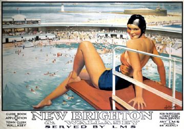 New Brighton, Wallasey, Merseyside, Cheshire Coast. LMS Vintage Travel Poster by Septimus E Scott